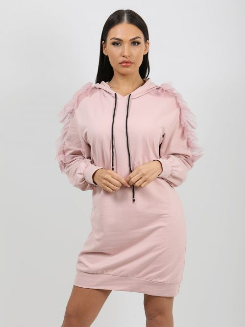 Adele Mesh Frill Sleeve Hoodie Jumper Dress In Pink