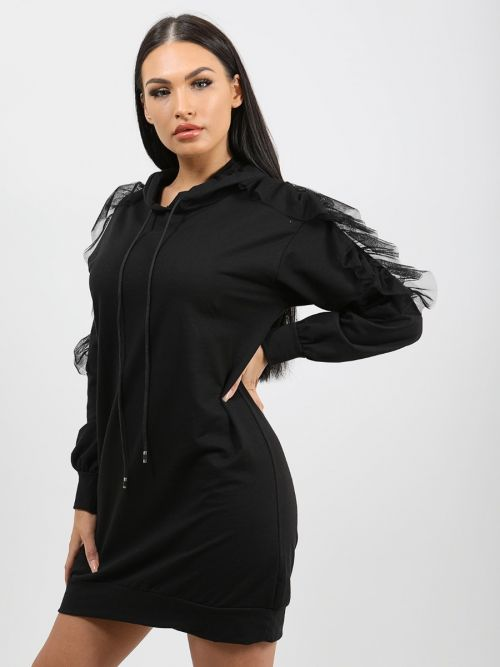 Adele Mesh Frill Sleeve Hoodie Jumper Dress In Black