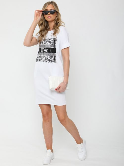 Zoe D'or Graphic Print T-Shirt Dress In White