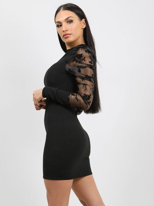 Rosa Floral Puff Organza Sleeve Bodycon Dress In Black