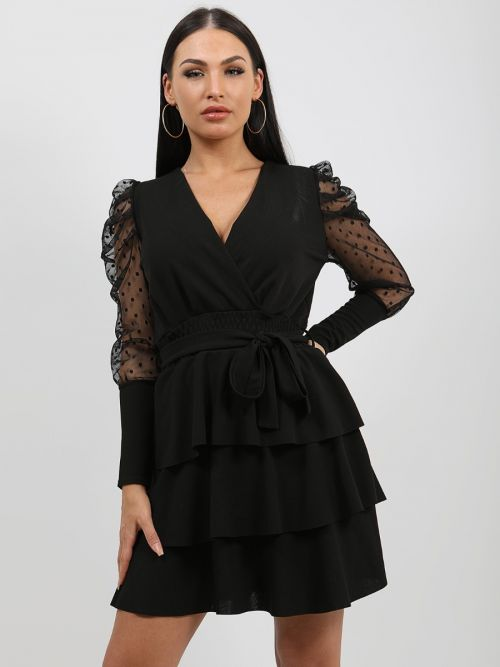 Valentina Polka Dot Belted Frill Layered Dress In Black