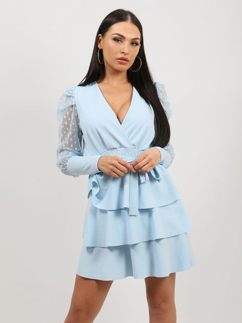 Valentina Polka Dot Belted Frill Layered Dress In Blue