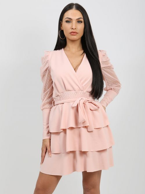 Valentina Polka Dot Belted Frill Layered Dress In Pink