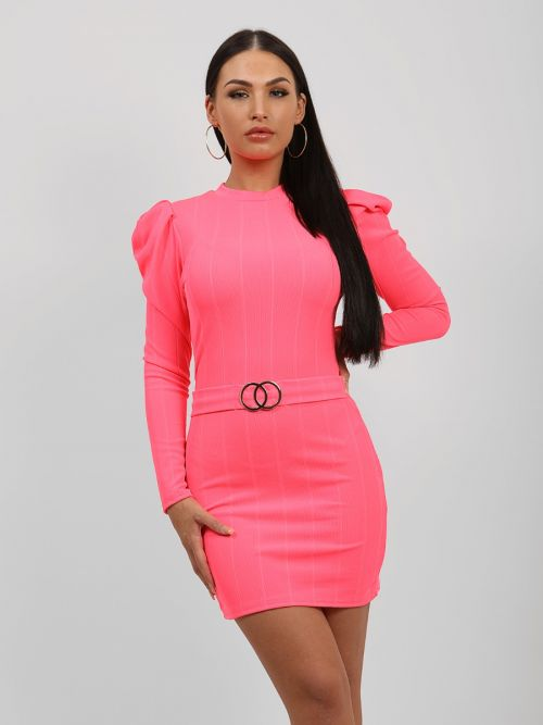 Caris Double Ring Belted Bandage Dress In Neon Pink