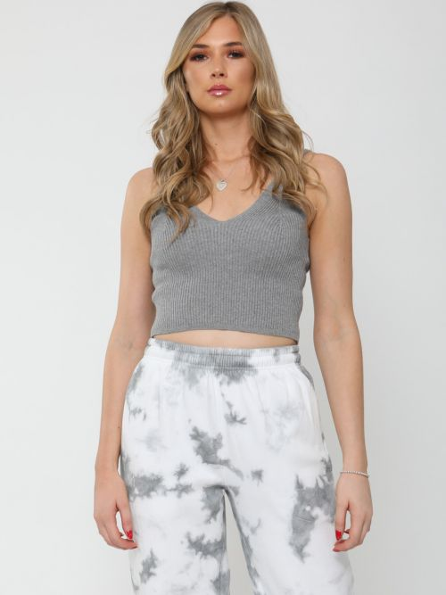 Roxy Ribbed Knitted Crop Top In Grey