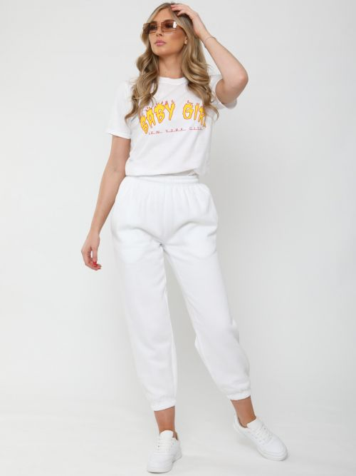 Barbara Oversized Fleeced Joggers In White