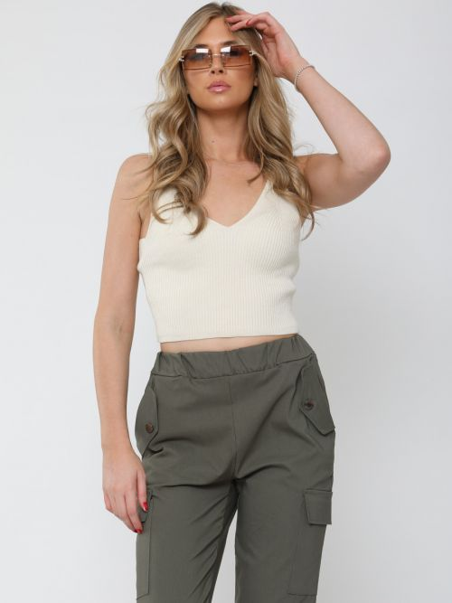 Roxy Ribbed Knitted Crop Top In Stone