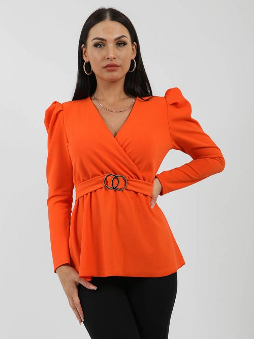 Debbie Double Ring Wrap Front Belted Top In Orange
