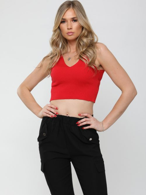 Roxy Ribbed Knitted Crop Top In Red