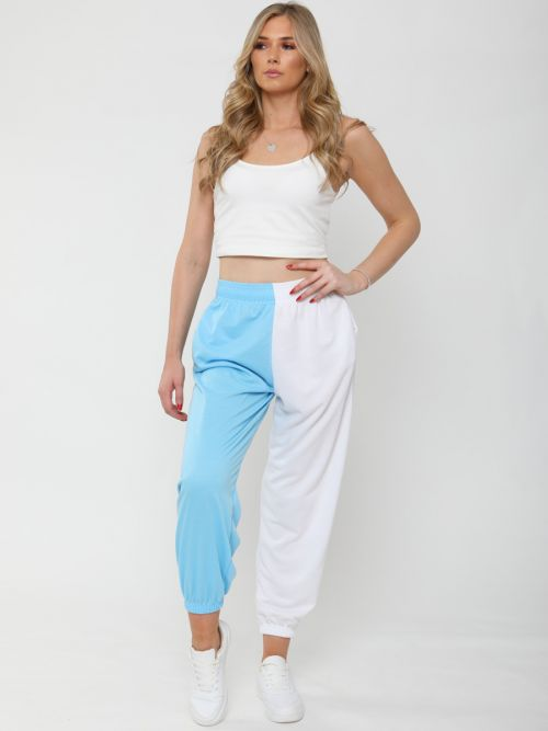 Mary Two Tone Oversized Colour Splice Jogger In Blue