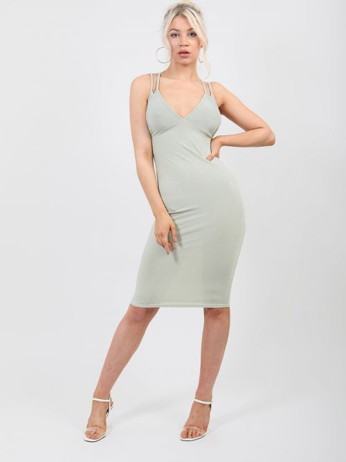 Lorna Double Strap Ribbed Midi Dress In Green