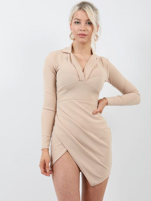 Alexa Tuxedo Style Wrap Front Dress In Stone