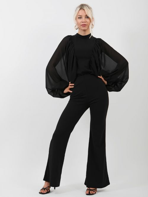 Sabrina Chiffon Sleeve Batwing Top In Black