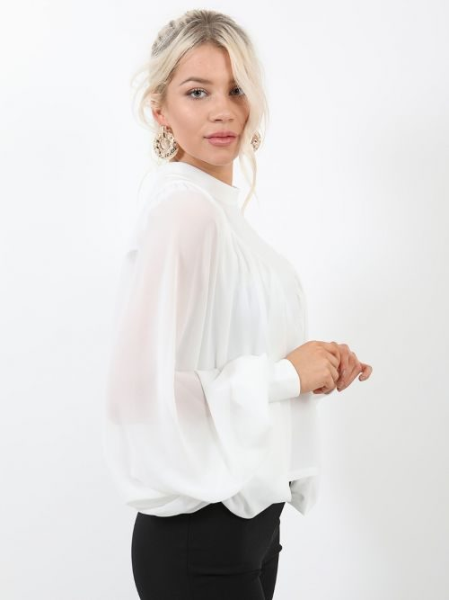 Sabrina Chiffon Sleeve Batwing Top In Cream