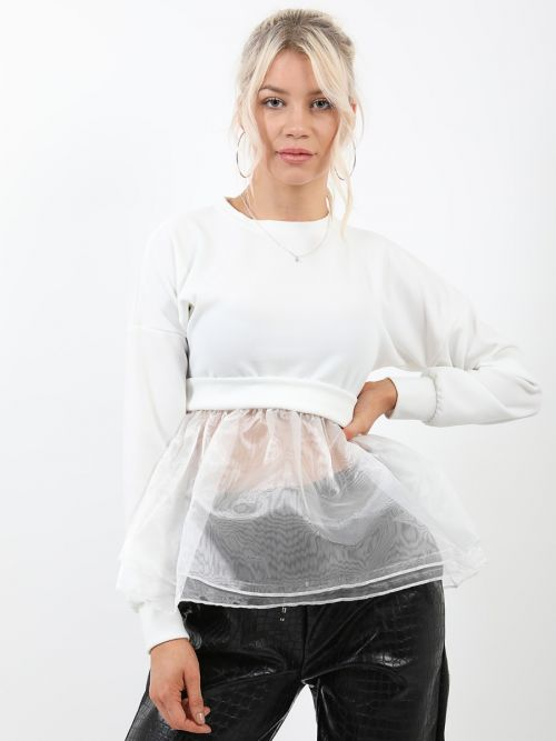 Suzie Frill Organza Hem Long Sleeve Top In Cream