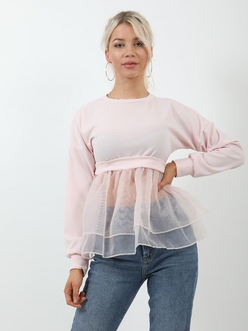 Suzie Frill Organza Hem Long Sleeve Top In Pink