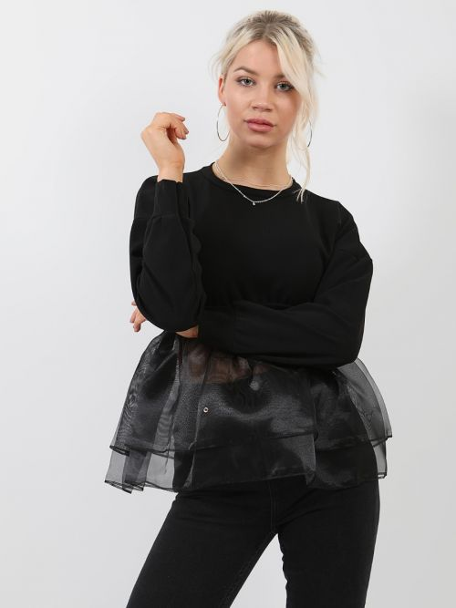 Suzie Frill Organza Hem Long Sleeve Top In Black