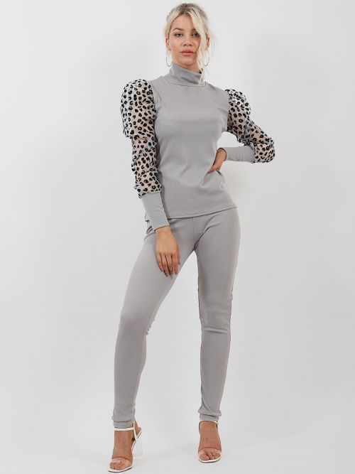 Nala Leopard Print Organza Sleeve Ribbed Co-ord In Grey