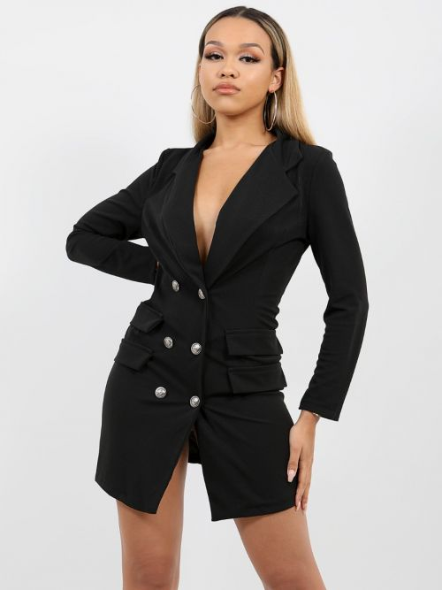 Anna Button Front Plunge Blazer Dress In Black