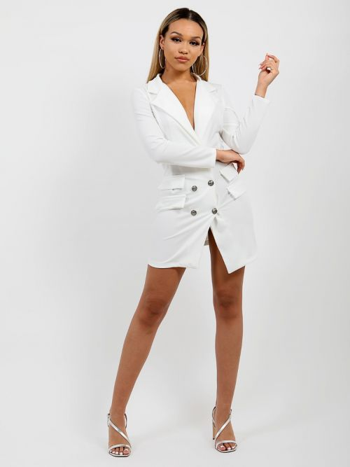 Anna Button Front Plunge Blazer Dress In Cream
