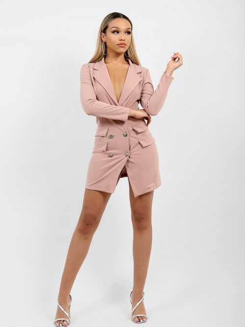 Anna Button Front Plunge Blazer Dress In Rose Gold