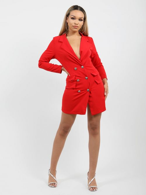 Anna Button Front Plunge Blazer Dress In Red
