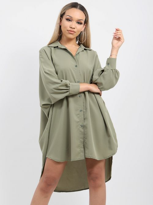 Julie Oversized Dip Hem Shirt Dress In Khaki