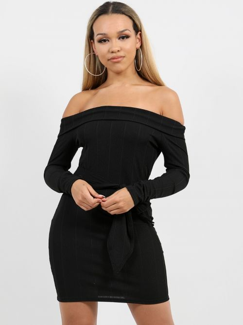 Matilda Ribbed Tie Knot Belted Bardot Dress In Black