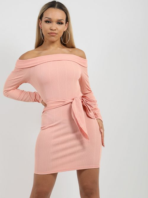 Matilda Ribbed Tie Knot Belted Bardot Dress In Rose Gold