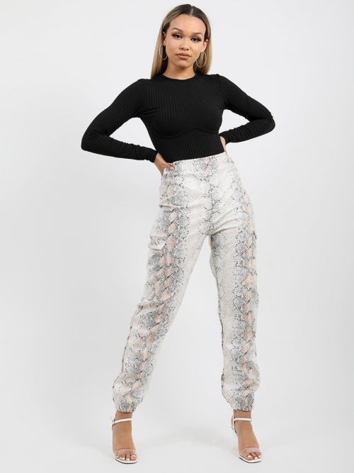 Simone Snake Print PU Cargo Trousers in Stone