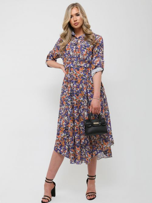 Sanya V-Buckle Floral Print Midi Dress In Multi