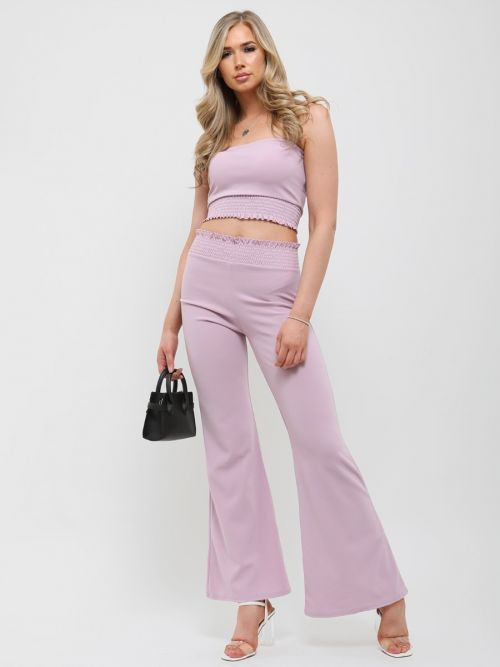 Karly Shirred Bandeau Crop Top & Trouser Co-ord In Lilac