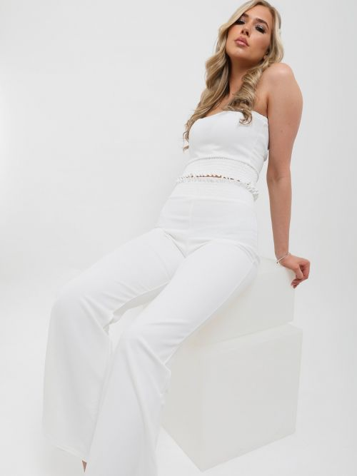 Karly Shirred Bandeau Crop Top & Trouser Co-ord In Cream