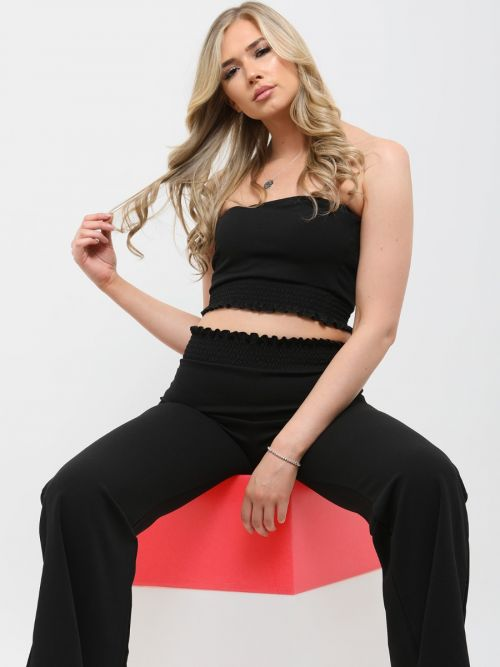 Karly Shirred Bandeau Crop Top & Trouser Co-ord In Black