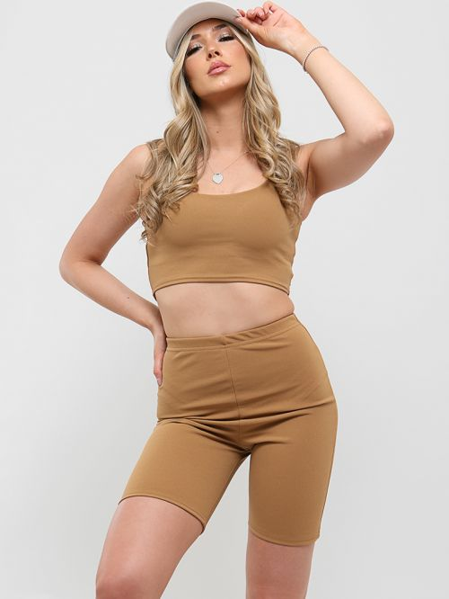 Liza Crop Top & Cycling Shorts Co-ord In Camel