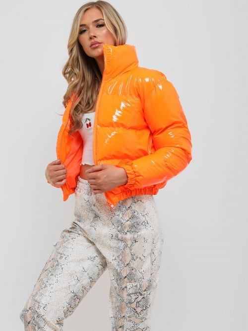 Emilia PVC Leather Cropped Puffer Jacket In Orange