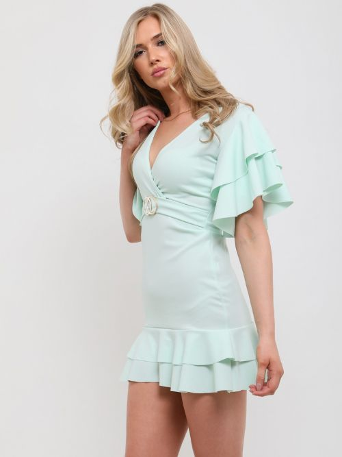 Mirren Double Ring Wrap Front Frill Dress In Mint Green