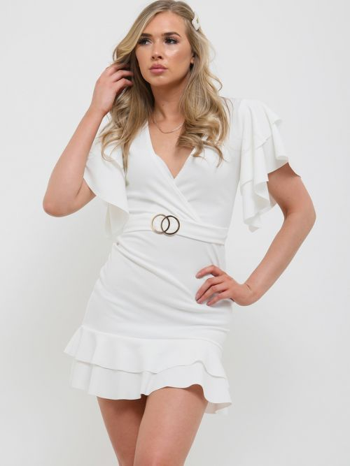Mirren Double Ring Wrap Front Frill Dress In Cream