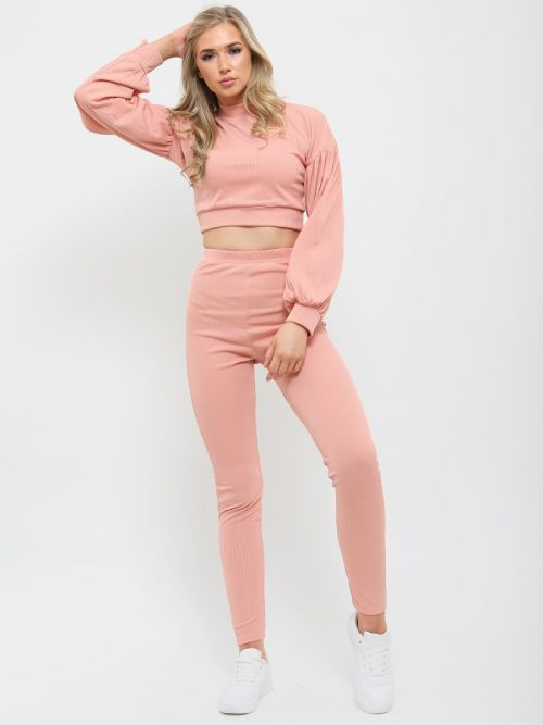 Maraya Ribbed Balloon Sleeve Top & Trouser Co-ord In Rose