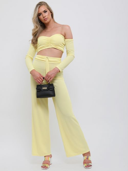 Alisha Ribbed Crop Top & D-Ring Trouser Co-ord In Yellow