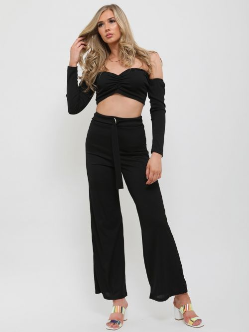 Alisha Ribbed Crop Top & D-Ring Trouser Co-ord In Black