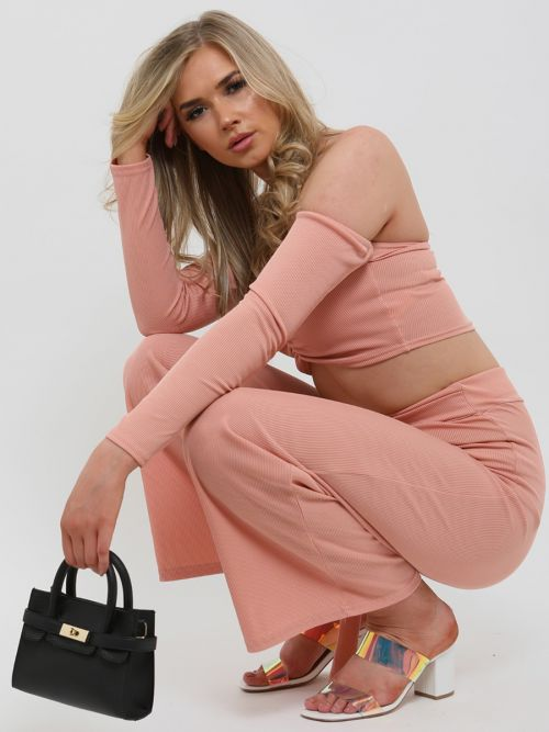 Alisha Ribbed Crop Top & D-Ring Trouser Co-ord In Rose