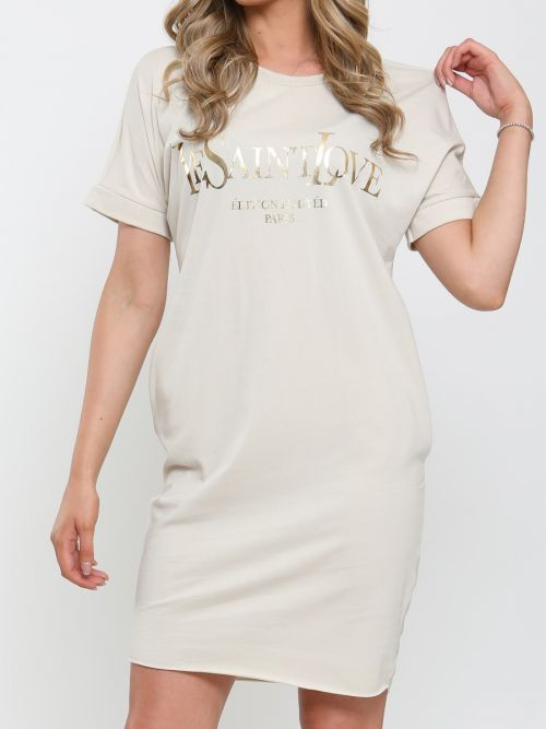 Collette Ye Saint Love Foil Print T-Shirt Dress In Stone