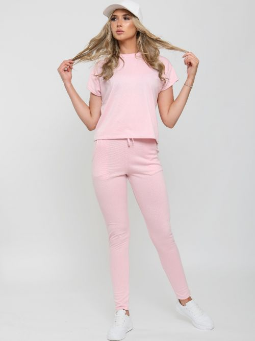 Niyah Short Sleeve Boxy Loungewear Co-ord In Pink