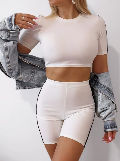 Ally Side Stripe Crop Top & Shorts Co-ord In White