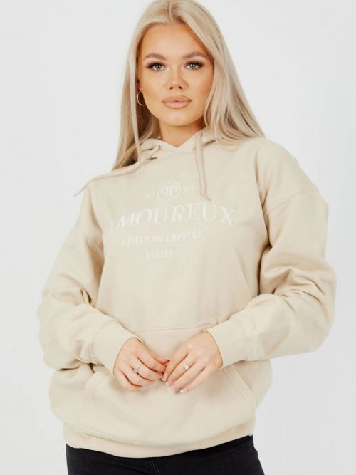 Shannon Embroidered Amoureux Fleeced Hoodie In Stone