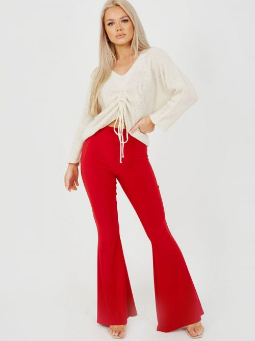 Stevie Scrunch Back Flared Slinky Trousers In Red