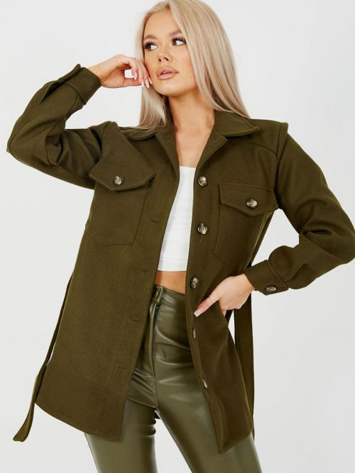Alix Oversized Thick Belted Shacket In Khaki