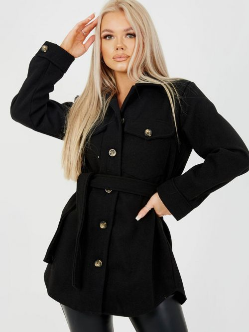Alix Oversized Thick Belted Shacket In Black