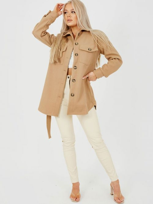 Alix Oversized Thick Belted Shacket In Camel